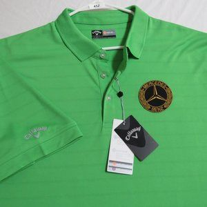 New 2XL Lime Callaway Mens db Polyester #45Z Polo